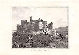 1840 Viktorianisch Aufdruck ~Harlech Schloss~ Merionethshire Wales