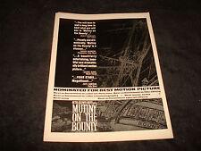 MUTINY ON THE BOUNTY 1962 Oscar ad Marlon Brando, Trevor Howard, Richard Harris