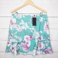 New $90 Portmans Skirt 16 Spring Floral Ruffle Teal Pink Party Cocktail Wedding
