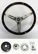 "1964-1966 Buick Skylark GS Wood Steering Wheel High Gloss Grip 15"" with Rivets"