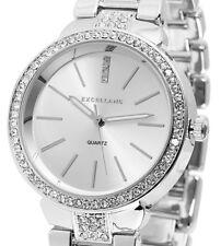 Damen Armbanduhr Silber Crystalbesatz Metallarmband 180/016 von Excellanc