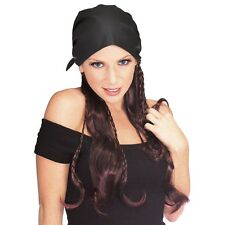 Pirate Wig with Black Scarf Cap Adult Women Brunette Halloween Costume Accessory