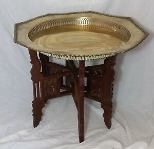 Beautiful Vintage  Orential Large Brass Tray Table