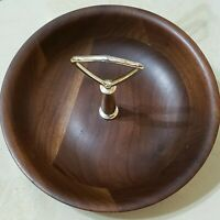 Mid Century Modern Vermillion Walnut Tidbit Tray Real Walnut Candy Dish Nut Bowl