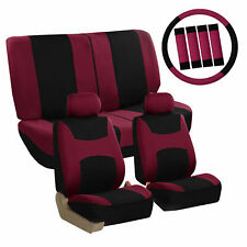 Car Seat Covers Burgundy Full Set for Auto w/Steering Wheel/Belt Pad/4Head Rest