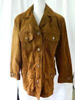 Virginia Slims Wear Brown Suede Leather Jacket Coat Lined Womens Medium