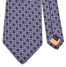 Robert Talbott Best of Class Metallic Blue Gray Satin Woven Geometric Silk Tie
