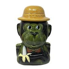 Vintage Large Ceramic Monkey Cookie Jar With Banana # T-2140 Japan Green Kitsch
