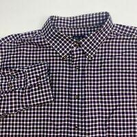 JOS A Bank Button Up Shirt Men's Size 2XL XXL Long Sleeve Maroon White Plaid