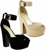 Ladies Womens Wedge High Heel Platform Ankle Strap Peep Toe Sandals Shoes Size