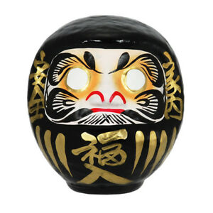 "Japanese 6""H Black Daruma Doll Wish Making Rich Safety No Evil Made in Japan"