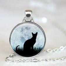 Glass Chain Pendant Necklace Jewelry New Cat Cabochon Tibetan silver