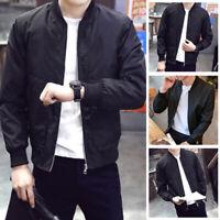 Men Zipper Casual Business Jacket Fight Bomber Coat Thin Slim Baseball Outwear