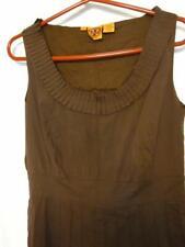TORY BURCH SLEEVELESS PLEATED SHIFT DRESS COTTON BLEND BROWN SZ 12 LINED ZIP