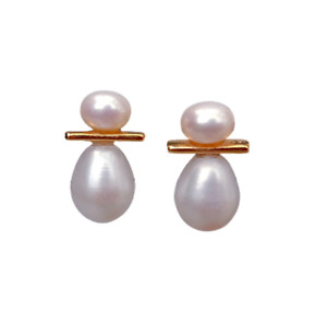 Freshwater Cultured Pearl White Semi Round Pearl And Rice Pear Stud Earrings