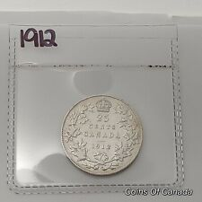 1912 Canada Silver 25 Cents Coin - Sealed In Acid-Free Package #coinsofcanada
