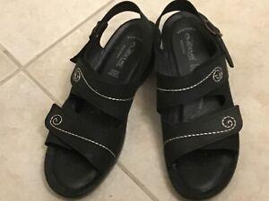 Flexus by Spring Step Belamar Black Comfort Anti Shock Sandals Size 41/US 9.5