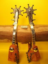 Vintage Kids Star Rowel Spurs with Leather Straps and Heel Chains MAKE OFFER