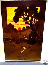 Vivid Sunset German Hold To Light Postcard Merry Christmas New Year Polish Text