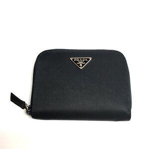 Prada Logo Wallet Purse Nylon Leather Black Zip Around Authentic