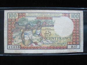 MADAGASCAR 100 FRANCS 1966 P57 MALAGASY MALGACHE 32# CURRENCY BANKNOTE MONEY