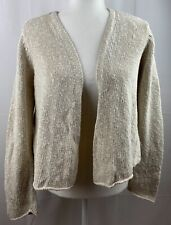 Eileen Fisher Petite M Ivory Open Front Cardigan Sweater Linen Blend Chunky Knit