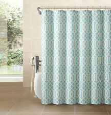 Spa Blue Fabric Shower Curtain: White Imperial Trellis Design Print