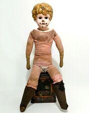 19Th C Antique German Minerva Doll W/Painted Brass Head, Orig Stuffed Linen Body