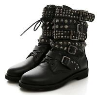 Gothic Womens Strapply Ankle Boots Flat Heel Motorcycle Buckle Rivet Biker Shoes
