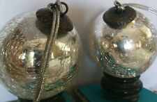 Vintage Mercury  heavy Crackle Glass  Kugel Silver Christmas Ornament 3""