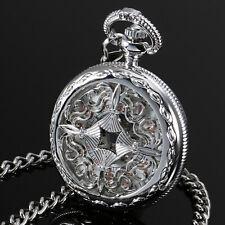 ESS Mechanical Pocket Watch Men's Silver Case Stainless Steel Half Hunter White