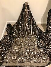 """BLACK STRETCH MESH W/GOLD EMBROIDERY SEQUINS  LACE FABRIC 50"""" WiIDE 1 YARD"""
