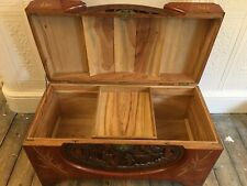 More details for large and heavy antique oriental wooden carved camphor blanket chest