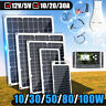 10/30/50/80/100W Mono Solar Panel Kit Battery Charging Charger Controller RV Car