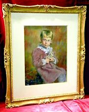 Beautiful Pastel on Paper Painting by Clement Micarelli of a Young Girl and Doll