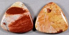 TWO NATURAL RED RIVER LACE JASPER 40MM TRIANGLE DROP FOCAL  BEADS  (104)
