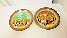 "Lot 2 Gres Oxford Brazil Marked 7 3/4"" Plates-Village scenes-#1970 & 1901"