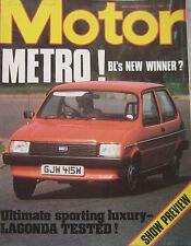 Motor magazine 11/10/1980 featuring Aston Martin Lagonda road test, Austin Metro
