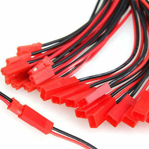 20Pairs* 10cm JST Plug 2pin Connector Cable Wire Female+Male RC Lipo Battery