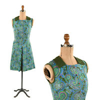 Vintage 60s Green + Blue Mod Retro Paisley Print Sleeveless Drop Waist Dress S