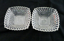 Anchor Hocking Early American Clear pattern Two  Square Berry/Dessert Bowls