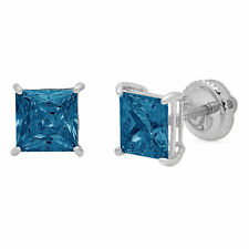 1.0 ct Princess Solitaire Natural London Blue Topaz Stud Earrings 14k White Gold