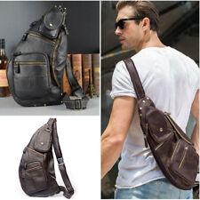 Men Genuine Leather Sling Chest Bag Hiking Messenger Shoulder Crossbody Pack New