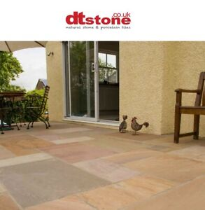 SAMPLE - FAWN BEIGE INDIAN SANDSTONE NATURAL PATIO PAVING SLABS -FLAGS