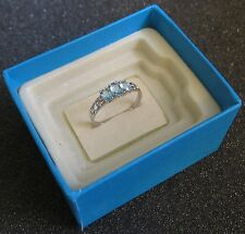 NWT 10K Solid White Gold Three Stone Ring w/ 0.62 Carats Blue Topaz Size 7.0