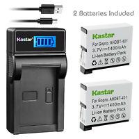 Kastar Battery LCD Charger + Battery for GoPro4 HERO 4 HERO4 AHDBT-401 AHBBP-401