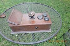 Antique Oak wall crank telephone box little tatteler