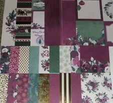 Christmas Scrapbook CARDSTOCK Kit Christmas Holiday Gilded Berry Floral