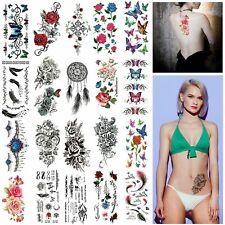 20 un. Mujeres Rosas Mariposa Color arte corporal A prueba de Agua Pegatinas tatuajes temporales