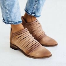 NEW Free People Lost Valley Italian Leather Strappy Ankle Pointed Boots 38 8